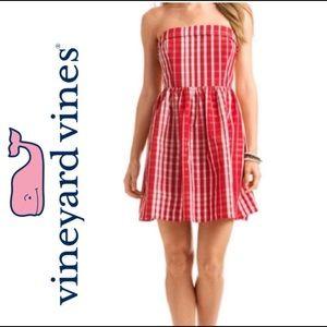 VINYARD VINES red gingham fit & flare dress